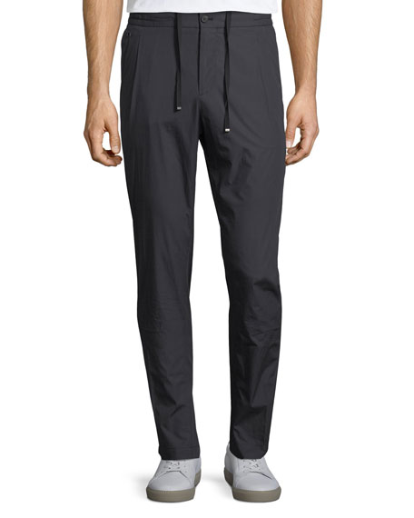 Men's Drawstring-Waist Stretch-Cotton Pleated Sport Pants