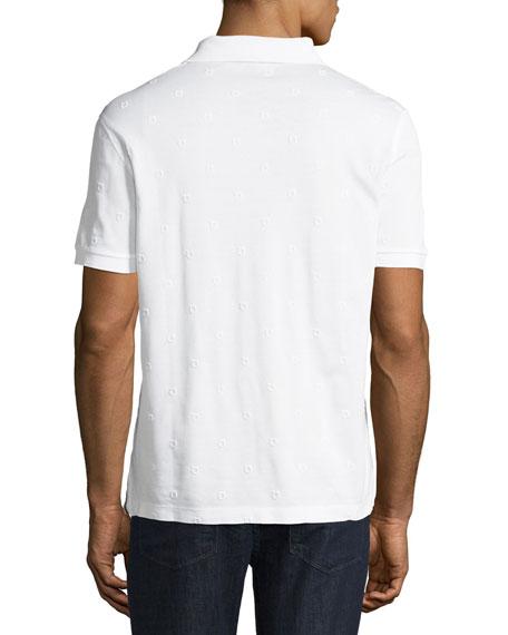 Men's Pique Polo Shirt with Floating Gancio Embroidery