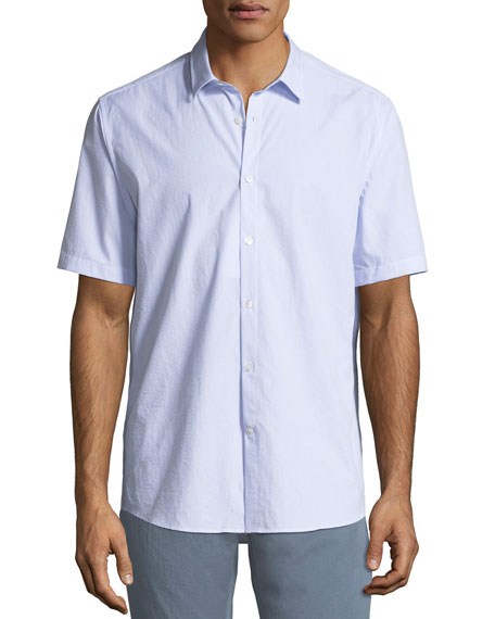 Men's Textured Cotton Short-Sleeve Sport Shirt