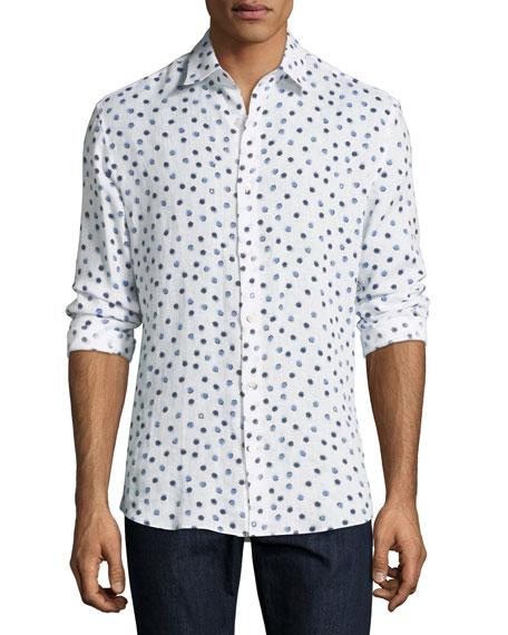 Salvatore Ferragamo Shell-Print Linen Sport Shirt