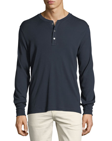 Ribbed Cotton Henley T-Shirt