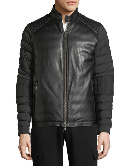 Napa Leather & Nylon Biker Jacket