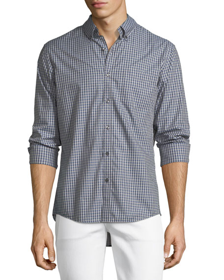 Michael Kors Slim-Fit Check Cotton Oxford Shirt