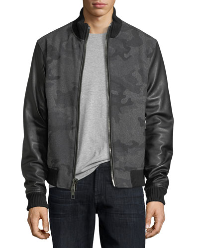 Camo Felted Melton Bomber Jacket