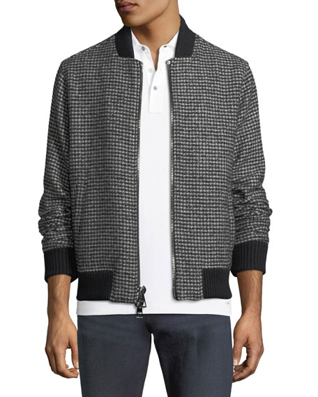 Check-Pattern Wool-Blend Bomber Jacket