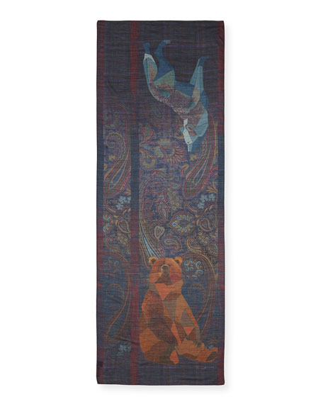 Men's Wool/Silk Shawl with Bear & Wolf