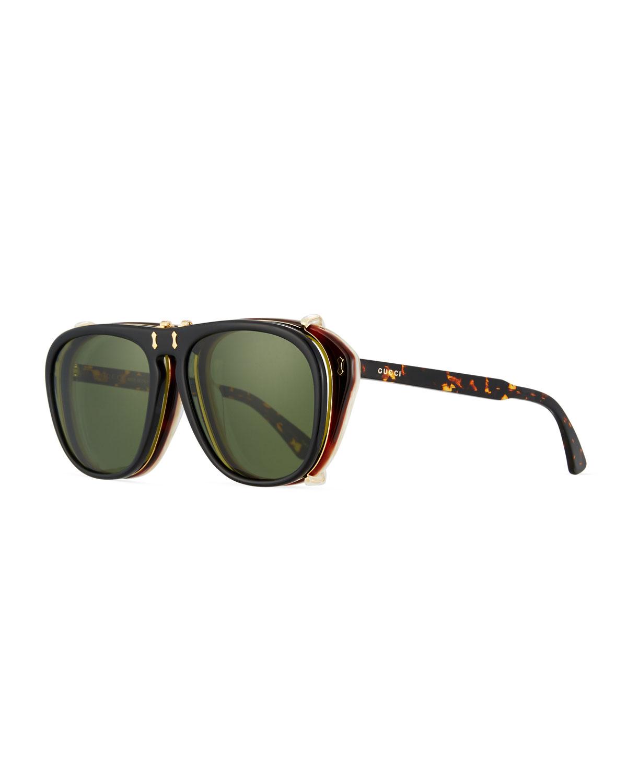 9ff5ca24bfc Gucci Men s Acetate Aviator Optical Frames w  Sunglasses