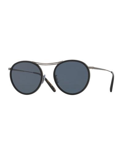 MP-3 30th Round Sunglasses, Black/Blue