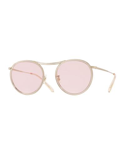 MP-3 30th Anniversary Round Photochromic Sunglasses, Buff/Pink Wash