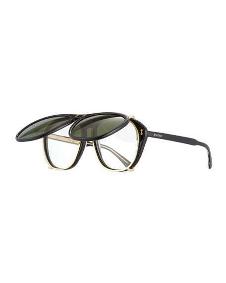 Men's Acetate Aviator Optical Frames w/ Sunglasses
