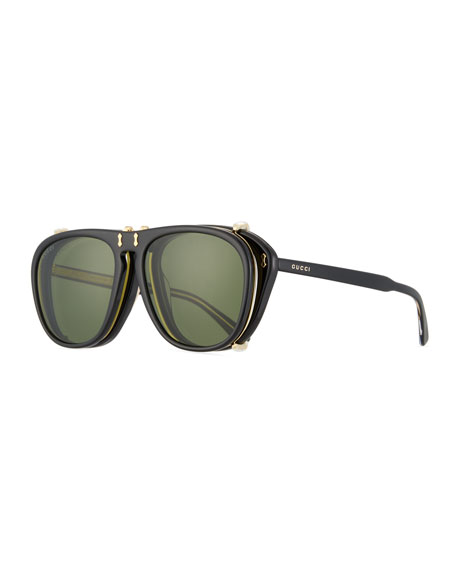 Gucci Men's Acetate Aviator Optical Frames w/ Sunglasses