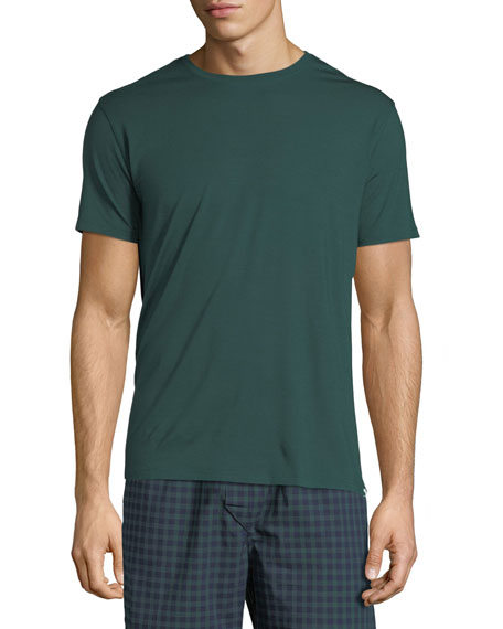 Derek Rose Basel 3 Crewneck Lounge T-Shirt, Green