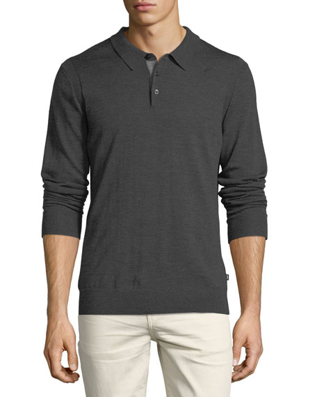 Michael Kors Long-Sleeve Merino Wool Polo Shirt