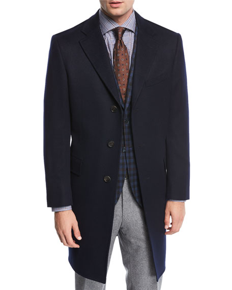 Neiman Marcus Single-Breasted Cashmere Top Coat, Blue