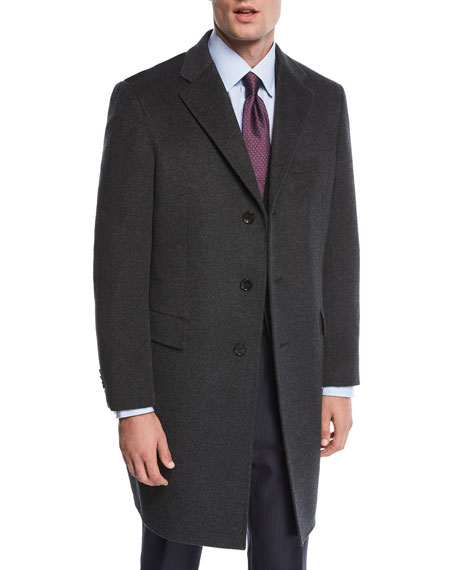 Single-Breasted Cashmere Top Coat, Charcoal