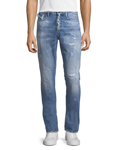 Demon Distressed Vintage-Style Slim-Straight Jeans