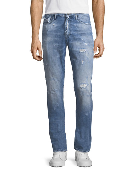 Demon Distressed Vintage-Style Slim-Straight Jeans