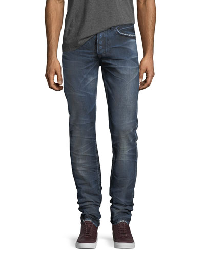 Demon Distressed Denim Slim-Straight Jeans
