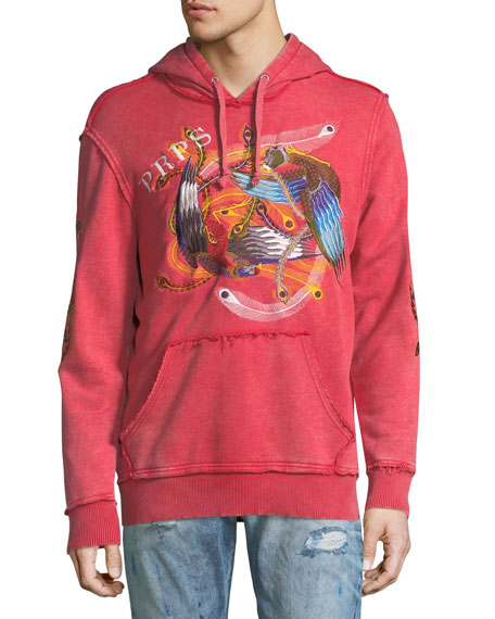 PRPS Feather-Embroidered Distressed Logo Hoodie and Matching