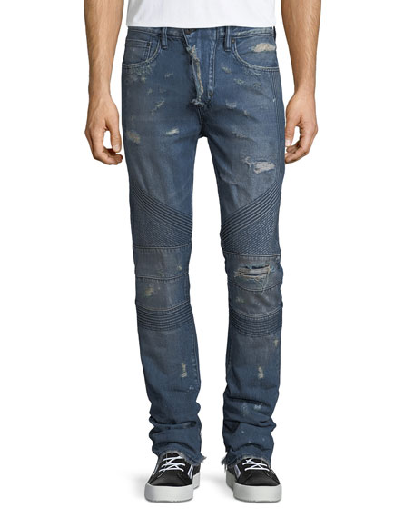 PRPS Le Sabre Distressed Tapered Moto Jeans and