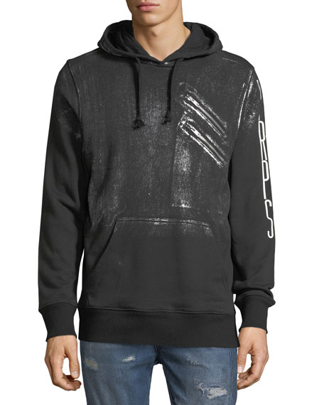 HOODIE WITH SILVER PAINT AND