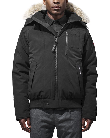 Canada Goose Borden Bomber Jacket with Fur-Lined Hood,