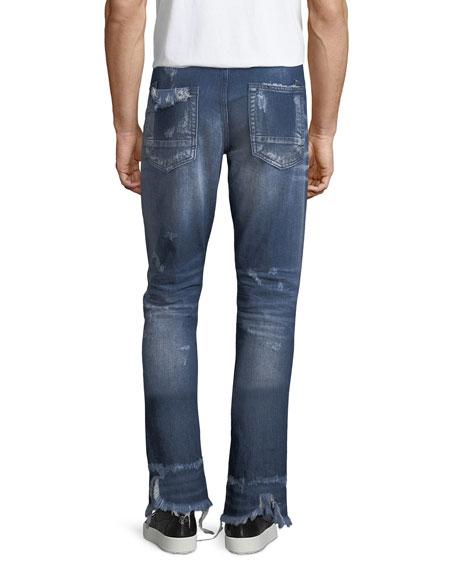 Split-Hem Distressed Slim-Straight Jeans