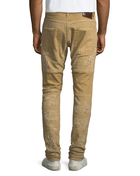 Windsor Distressed Skinny Moto Jeans, Khaki