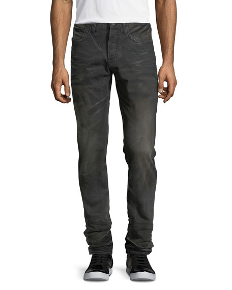 Faded & Whiskered Denim Slim-Straight Jeans