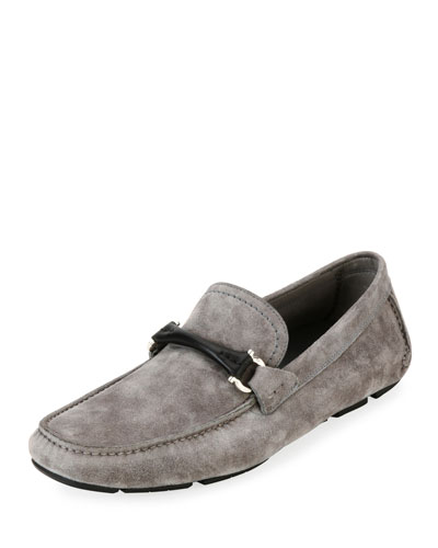 Men's Suede Gancini Driver with Leather Bit