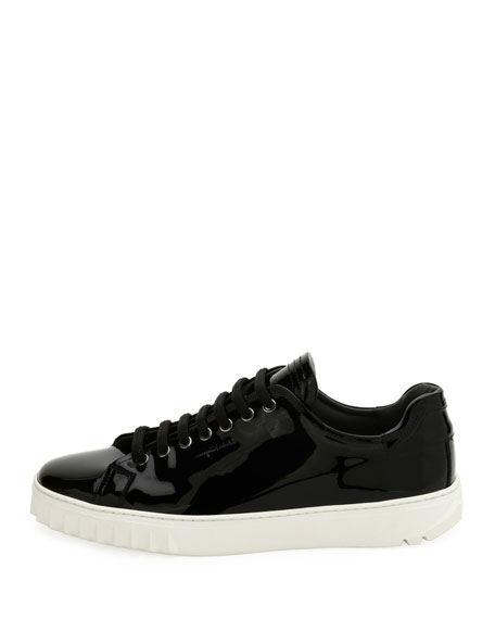 Men's Patent Leather Low-Top Sneakers