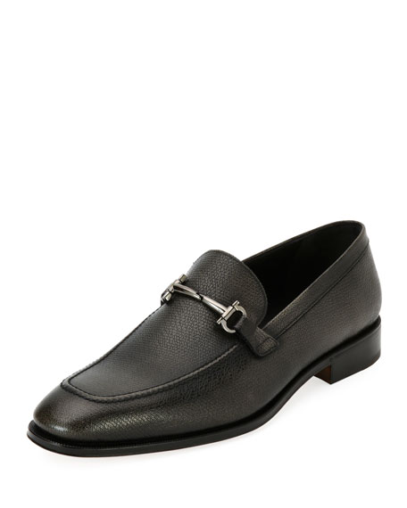 Men's Textured Leather Gancini-Bit Loafer