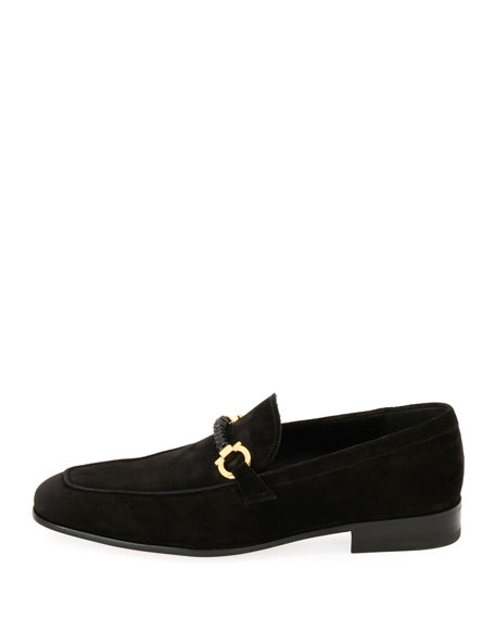 Men's Suede Braided Gancini Loafer, Black