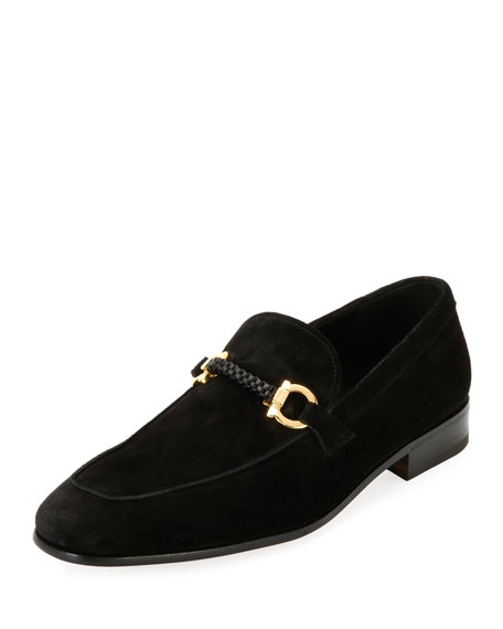 Salvatore Ferragamo Men's Suede Braided Gancini Loafer, Black