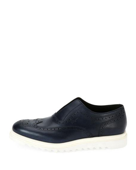 Men's Leather Wing-Tip Slip-On Sneaker, Blue