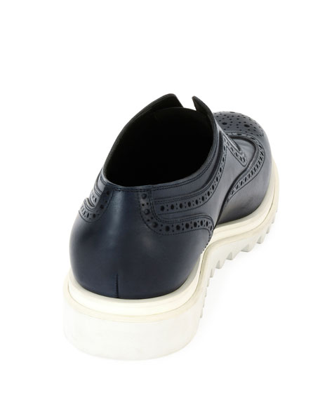 Leather Wing-Tip Slip-On Sneaker, Blue