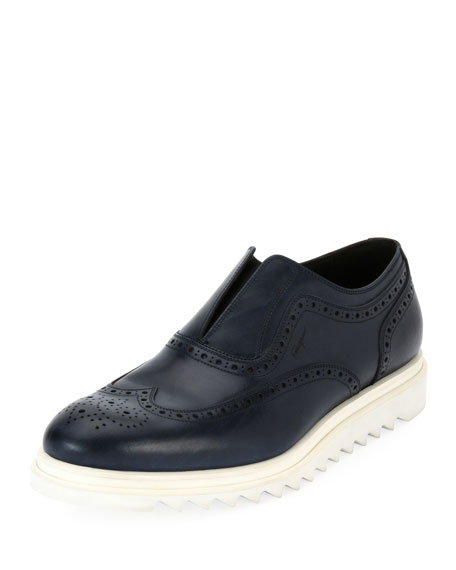 Salvatore Ferragamo Leather Wing-Tip Slip-On Sneaker, Blue