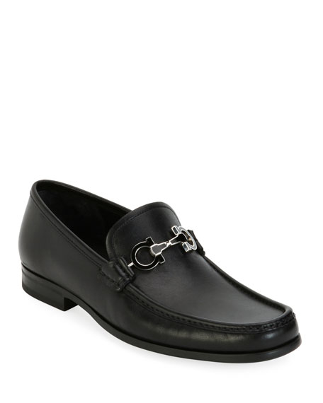 Salvatore Ferragamo Leather Loafer with Reversible Gancini