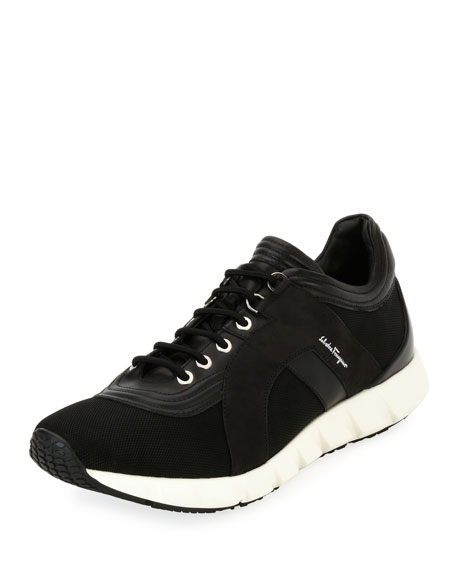 Salvatore Ferragamo Men's Mixed-Media Trainer Sneakers
