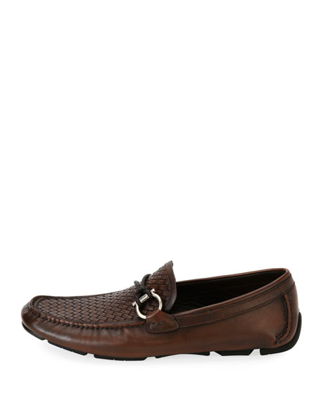 Men's Woven Leather Gancio Driver, Brown