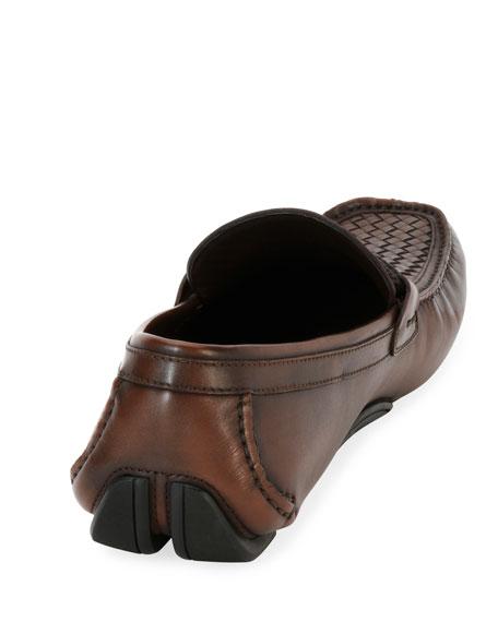 Woven Leather Gancio Driver, Brown