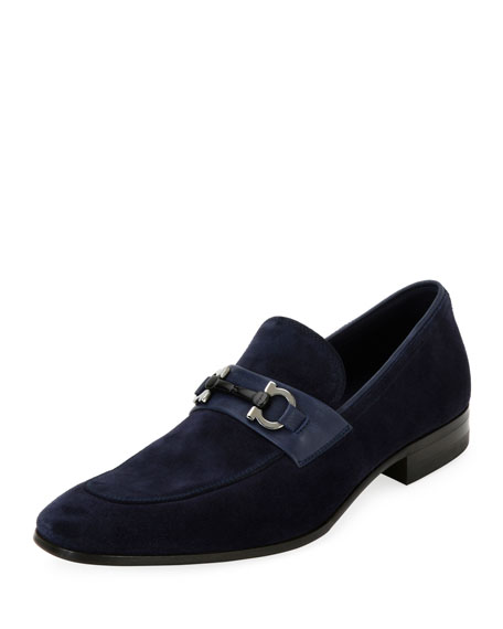 Salvatore Ferragamo Men's Suede Slip On Gancini Loafer