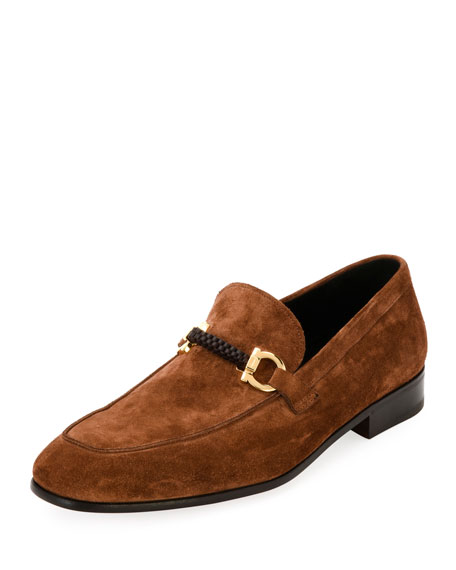 Salvatore Ferragamo Suede Braided Gancini Loafer, Brown