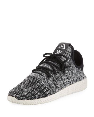 x Pharrell Williams Men's Hu Race Tennis Sneaker, White/Black