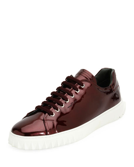 Salvatore Ferragamo Men's Patent Leather Low-Top Sneaker