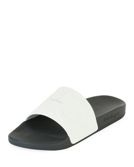 Salvatore Ferragamo Embossed Gancini Slide Sandal