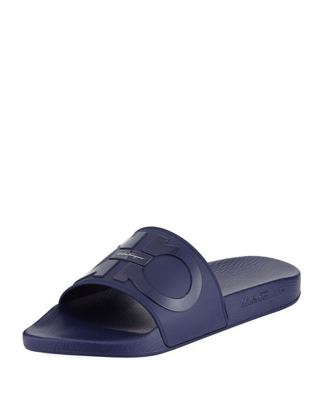 Salvatore Ferragamo Gancini Pool Slide Sandal, Blue
