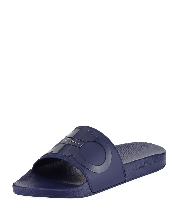 809e09932 Salvatore Ferragamo Men's Gancini Pool Slide Sandals, Blue | Neiman ...