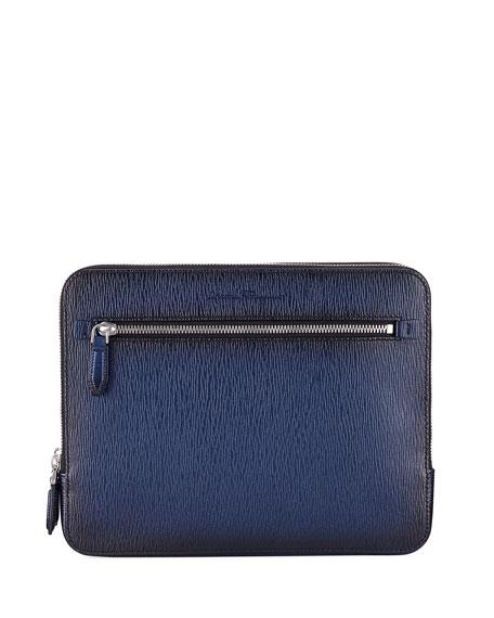 Men's Revival Leather Clutch Bag/Travel Case, Blue