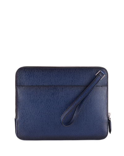 Men's Revival Leather Clutch Bag/Travel Case, Blue